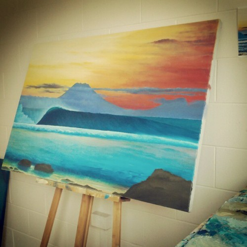 My Desert Point sunset #eco #surf #art #painting is looking schmick and it's almost done.