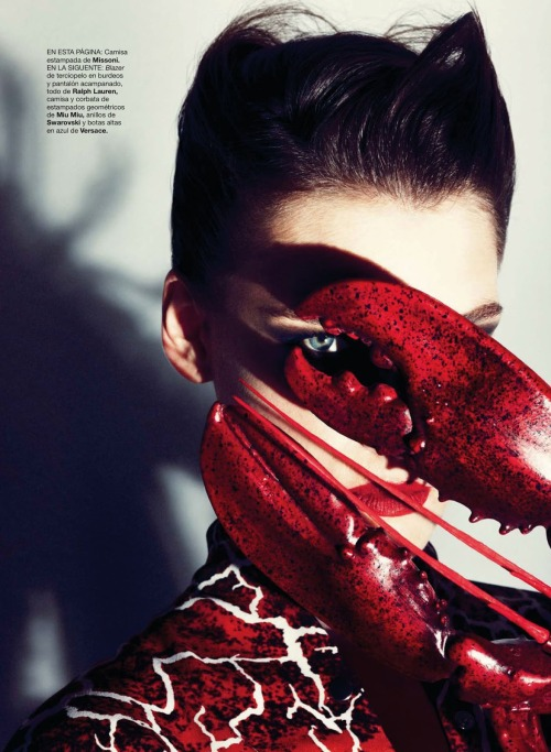 martas-wonderland:  surrealism from head to toe: eugenia volodina by txema yeste for harper's bazaar spain november 2012  The Lobster Claw Castanet Dance. This one is sorta for EQ, but she will know that immediately.