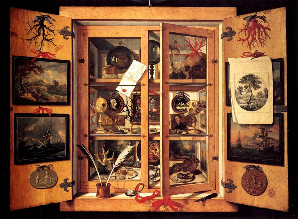 downlookingup:  Domenico Remps, Cabinet of Curiosities, ca. 1690