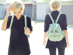 ALL BLACK & ALL WHITE SEASON 9. lookbookdotnu:  Mint backpack (by Lidka N)
