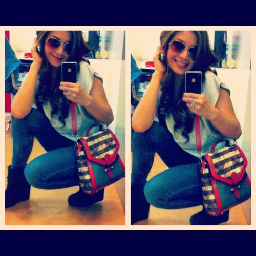Spotted Ms. Mich of JAMICH wearing DREAMBIGSHOP's Boots and Bag!