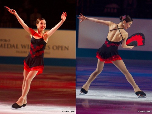 figureskatingcostumes:  Laura Lepistö skating to Fandangos, Sevillanas and Malagueña at the 2012 Medal Winners Open. Check out her illusion shoes!  This one is basically literally a Batwoman dress.
