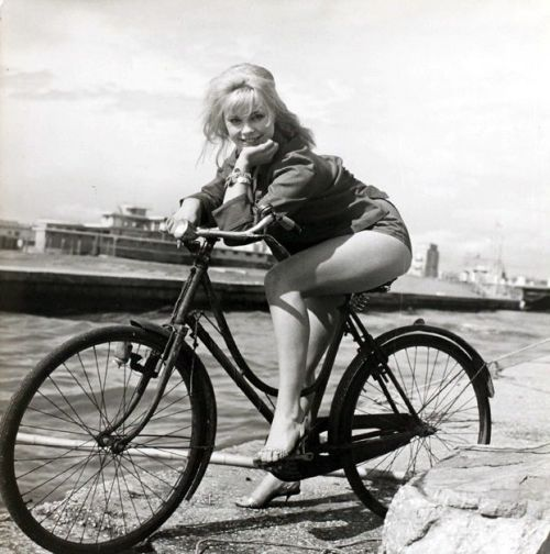Elke Sommer rides a bike. And contemplates buying an iPad so she can download the new Hollywood Rides a Bike app right here!