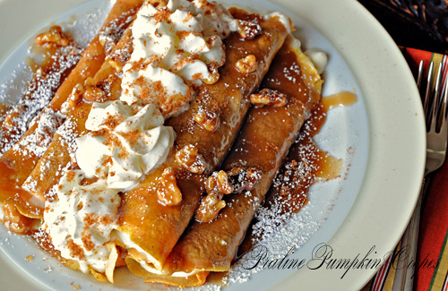 bakeddd:  praline pumpkin crepes with cream cheese filling click here for recipe