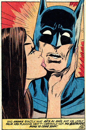 Batman and Talia. This was taken from a 70s episode of Batman, if you know which one, drop me a line. I had it, as a part of a Croatian edition of Batman, way back in the day.  Note: people who complain about The Dark Knight Rises didn't really get how connected all three of Nolan's Batman films are, and probably don't know about the importance of Talia in Batman's mythology.  Follow Rad Recorder into the Batcave.