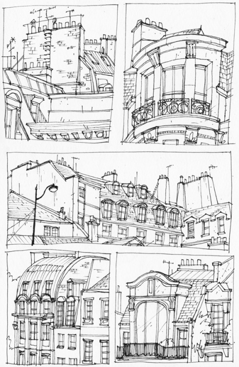 tumblwip:  We went to Paris for a couple of days. These are some drawings of some of the buildings there.And, just a quick message to anybody who has an apartment in Paris; I hate you.
