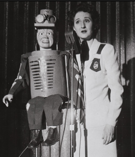 Woman with Dummy Robot   From I'M WITH DUMMY: Vent Figures and Blockheads by Jim Linderman  HERE