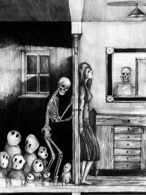 """behind the door"" B3, pencils, 13.08.2011Ghosts in the left corner, are unfortunately not a product of my imagination- they are taken from the anime 'Mononoke-hime'.I didn't planned them here, however, while drawing they just came and didn't want to leave."