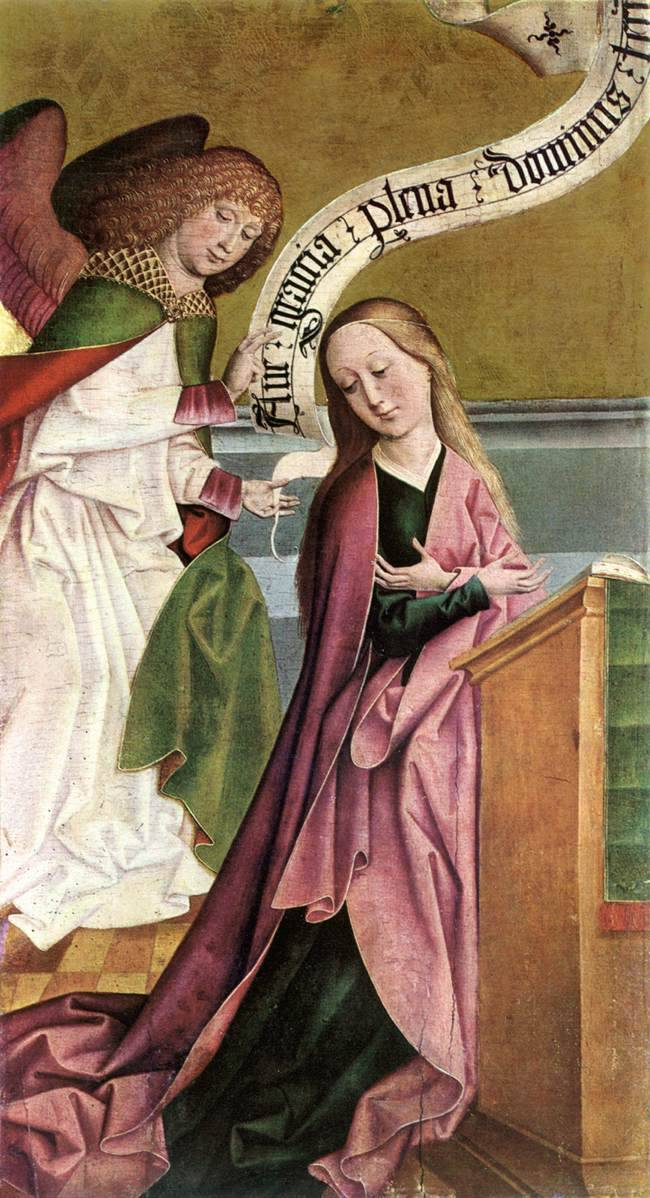 The Annunciation (c. 1495). Rueland Frueauf the Elder (Austrian, 1440/45-1507). Tempera on pine panel. Szépmûvészeti Múzeum, Budapest. The golden period of Salzburg painting in the last years of the 15th C. was dominated by the Elder and the Younger Rueland Frueauf. The focus is on the figures, the angel floating above in the image field, and the Virgin, listening humbly to the tidings of the divine messenger, her face lit up by a glad smile, bending gently towards her visitor. The two figures fill almost the whole space with hardly any help coming from the decorative elements, the background, and the praying-desk.