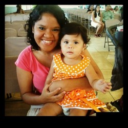 Con Mia en la #iglesia #bella #princess #curly #orange #dress #fashion