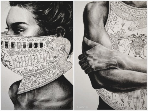 Details of two drawings I've just completed. Done in carbon pencil and micron pen.