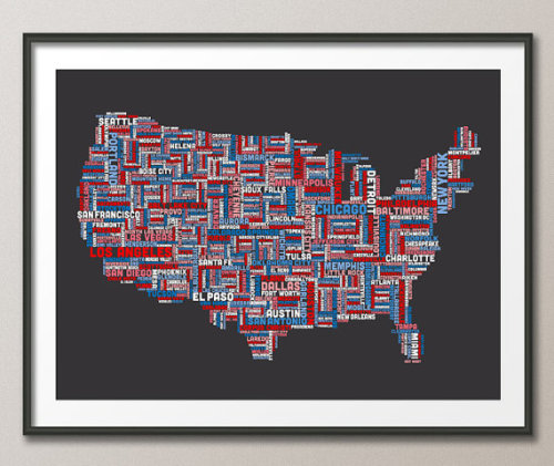 artmaps:  United States Typography Text Map on Etsy