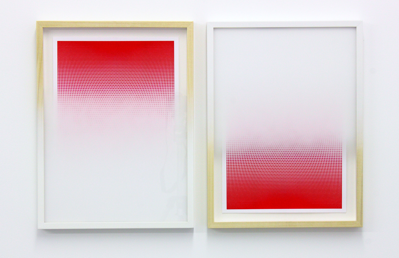 Inverted Apparition 2012Sprayed frames and glass, Risograph prints37cm x 49cm each