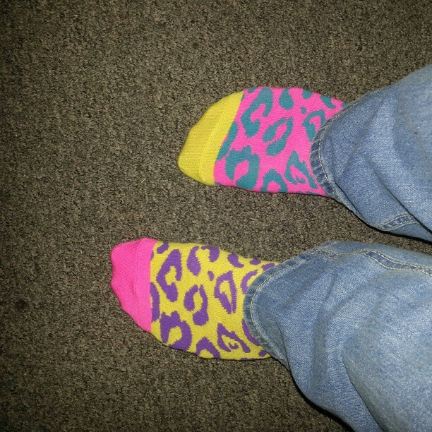 No filter and they're still crazy bright. #neonsocks #neoncolors #pink #socks #socksoftheday #sox #todayssocks #mismatch #mismatchedsocks #mismatchsocks #mixnmatch #feet #myfeet #mysocks #rue21 #target #nofilter #badasssocks