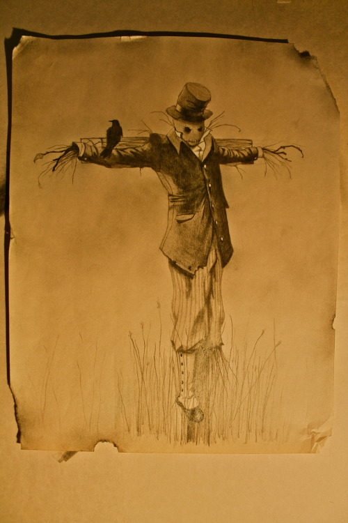 Did a Steampunk-ish scarecrow tattoo design for a client this week.  Pencil on newsprint…  I haven't drawn on newsprint since grade school and I forgot what a pain in the ass it was.