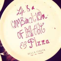 as written on my plate #pizza #italian (at Bella Italia)