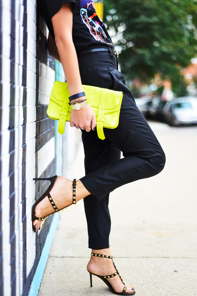 Neon + studs More on ChiCityFashion.com