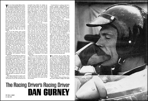 cami-racing:  Dan Gurney on a Car Life magazine issue from 1965.  Ohhh, nice :3