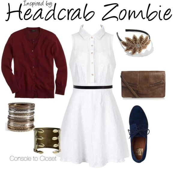 Headcrab Zombie (Half-Life) by ladysnip3r featuring western leather handbags This outfit is inspired by the headcrab zombies in Half-Life. I wanted to capture the look of a lab coat so I chose a white shirt dress, paired with a red cardigan. I chose red to represent the blood and grossness with still looking stylish. I also chose blue accessories to compliment the dress. Lastly, I chose a brown and tan headband that reminded me of a headcrab. (Reference Image) Embroidery dress / J.Crew j crew / Dolce Vita  shoes / Jigsaw western leather handbag, $72 / Vanessa Mooney stacking bangle / R.J. Graziano stacking bangle / Apt. 9 apt 9 / ASOS waist slimming belt, $16