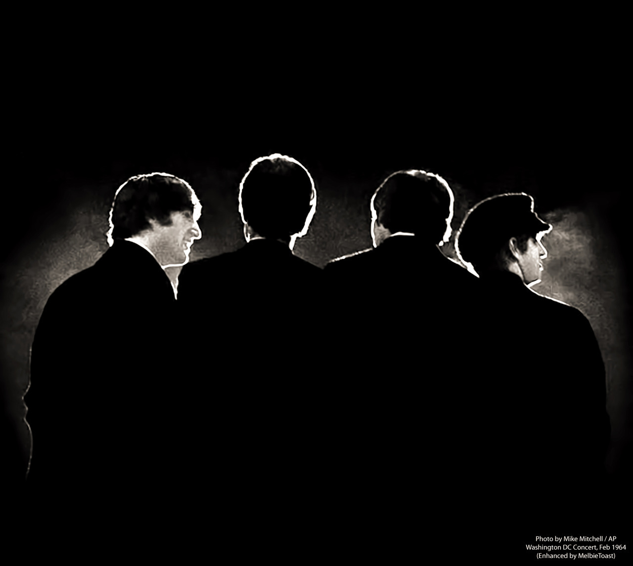 The FAB FOUR, at their first concert in the United States, at the Washington D.C. Coliseum in February 1964. Original photo by Mike Mitchell / AP, one of a collection of Beatles photos that sold at auction for $362,000 in July 2011.  A silhouette of the Fab Four captures the Beatles - Read more: http://www.dailymail.co.uk/news/article-2220889/Incredible-black-white-pictures-adoring-Beatles-fans-gig-America.html#ixzz29xsA6D00