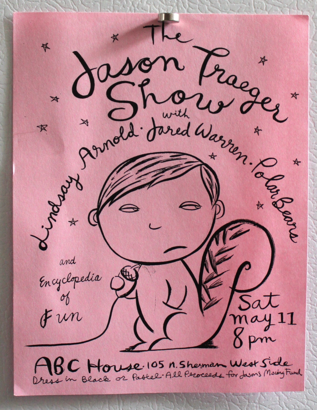 "THE JASON TRAEGER SHOW  OLYMPIA 2000  My Stand-up comedy career can be divided into three periods. As a child I made a practice of memorizing routines and bits by Cheech and Chong, Steve Martin and George Carlin to perform for my friends and classmates. In fact my first performance in front of an audience was in 1977 when I did a medley of bits culled from Steve Martin's classic albums of that era in front of my fourth grade class at Moorlands Elementary School in Bothell, Wa.  I was a big hit with the kids but my teacher was less approving. She was especially upset when I did the joke ""…when a person asks me in a restaurant 'mind if I smoke?', I ask them 'mind if I fart?'"" Of course the joke that drew the most ire from my teacher got the biggest laugh of all from the kids. I was hooked! As a nine year old stand-up in the late 70's I found it exceedingly difficult to make a career of it. This was, after all, a few years before the comedy explosion of the 80's and at the time I wasn't allowed to stay up past 9pm so it was tough. Once I'd exhausted all the audiences in my immediate surroundings I put my comedy dreams on the back burner to pursue the completion of my primary school education. It wasn't until about 25 years later while living in Olympia, WA. that I got back into Stand-up. I don't remember exactly what inspired me to start hitting open mics at that time. I do remember feeling inspired after seeing Mitch Hedberg and Marc Maron a few months apart at a club in Oly that briefly hosted comedy around that time. I think those shows helped push me to give it another go. The time was right. This second, middle-era of my Stand-up career started primarily at Seattle's Comedy Underground and at Giggles out in the U District and then at Comedy Underground's Tacoma location. I eventually moved back to California (I'd lived there in the 80's and 90's) spending sometime in SF performing at places like Brainwash, then in LA performing at various spots around town most frequently at the Lucy's Laundromat on Sunset in Silverlake. This era culminated with a national tour I did doing Stand-up as an opener for musical acts Scout Niblett and Swearing at Motorists. I learned a lot on that tour. Among other things I learned that doing Stand-up in Baton Rouge, LA. at a biker/frat bar is not for the faint of heart. I also learned that while it seems like a bad idea to do a fistful of magic mushrooms before going onstage in front of hundreds in Dallas, TX., it's not as bad an idea as you might think. When I got back to LA after that tour I didn't know which way was up and I'd pretty much lost the trail completely in my life. I just didn't have the center of gravity to do much of anything so I moved back to the Northwest, bounced around a little, went to art school, studied painting, blew through some money, played music, got jobs, left jobs, lost jobs, I was in a fantastic art collective called Oregon Painting Society that did comedy shows from time to time, did tons of shows with OPS, performed at the Tate Modern in London, quit drugs and alcohol, did a couple Stand-up shows in art-world settings, and all kinds of other stuff. About five months ago I started doing Stand-up again here in Portland. This begins the third chapter of my career. I don't know why I started back up exactly. It's true I was running out of patience with the vagaries of the art world, I couldn't afford to throw every penny toward a painting career that got plenty of attention but almost no sales at all, I also was transitioning into being single again, and I was frankly a little bored with music. I wanted a form of expression that was compatible with working a lot and being strapped for cash. More than anything else though I just felt a calling to get back into it. In Portland I've found Stand-up comedy heaven. It's a great scene with tons of open mics in a bunch of great rooms. There are a slew of talented young and not-so young comics, the scene is creative, fresh, friendly and I can't imagine it's not at the beginning of a comedy explosion of sorts. All the pieces are in place. I am more excited by and engaged in comedy than I've ever been and it feels great.  I've also been able to combine my love of visual art with my comedy career by sketching the ever changing faces and places of Portland comedy. I show my drawings on my Portland Stand-up Comedy Sketchbook Tumblr. The above flyer is from a show at the ABC house in Olympia that was a held as a fundraising benefit prior to my move to California. I'm a little unsure as to what year that would've been. 2000 maybe? The flyer was drawn by my dear friend and brilliant artist Tae Won Yu. The bill featured my friends Lindsay Arnold who was making the rounds as a Stand-up at the time and Jared Warren of KARP, The Whip, Big Business and Melvins fame. Jared was between bands and was another one of my Stand-up Comedy mates for my trips up to Seattle to The Comedy Underground. Both Jared and Lindsay were and still are hilarious. Lindsay is a lawyer now and Jared is a rockstar still.  Me? I'm a Stand-up comic! If you wanna see me do my thing go to almost any open mic in Portland. If I'm not on stage just look for the guy with the sketchbook. (The Jason Traeger Show flyer by Tae Won Yu from my personal archives.)"