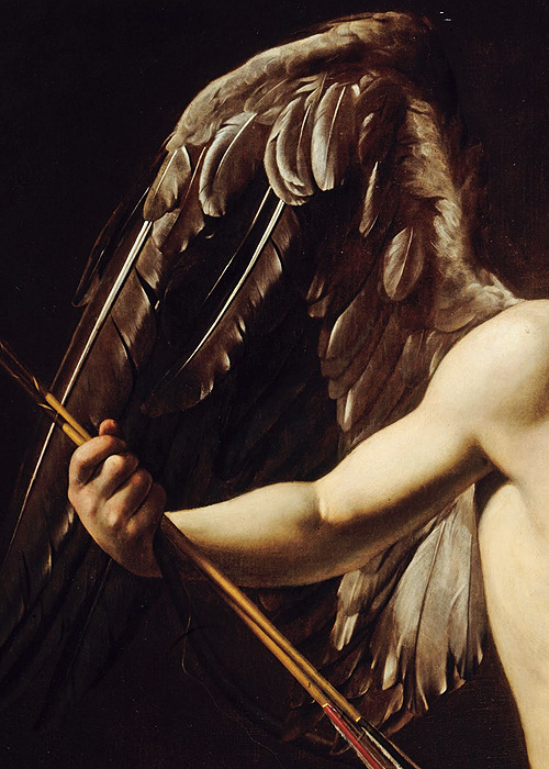 sophistae:  Caravaggio, Cupid as Victor (detail), ca. 1601 (x)