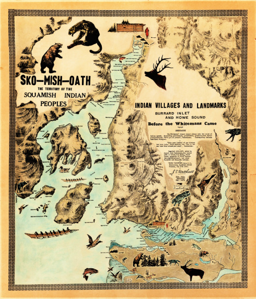 pasttensevancouver:  Squamish village and landmarks map, 1937 Map prepared by city archivist Major Matthews based on conversations with August Jack Khatsahlano (Xats'alanexw). Click here to view full size. Source: Major JS Matthews, City of Vancouver Archives #MAP 351