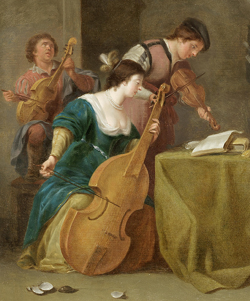 Jan van Bijlert [ca. 1597-1671] — A merry company making music [detail]