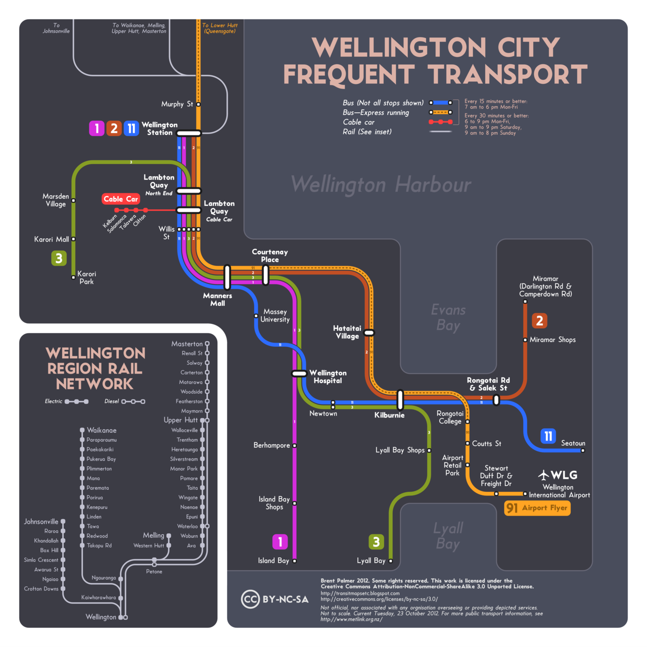 "Unofficial Map: Frequent Transport of Wellington, NZ Submitted and created by Brent Palmer.  This is one I conjured up this weekend, dealing with Wellington, NZ. Only four local bus routes (and the Airport Flyer) turned out to meet any half-reasonable ""frequent service"" criteria.  Transit Maps says: A gorgeous looking map from long-time follower, Brent Palmer, that unfortunately serves to highlight the paucity of frequent transit services in New Zealand's capital. Another striking dark background, and some unusual but highly effective colours for the routes themselves. Brent makes good use of the extra space afforded by the lack of routes, with nice big numbers for the routes, clear type, and a very handy inset diagram of commuter rail services. Top notch work indeed. Four-and-a-half stars!"