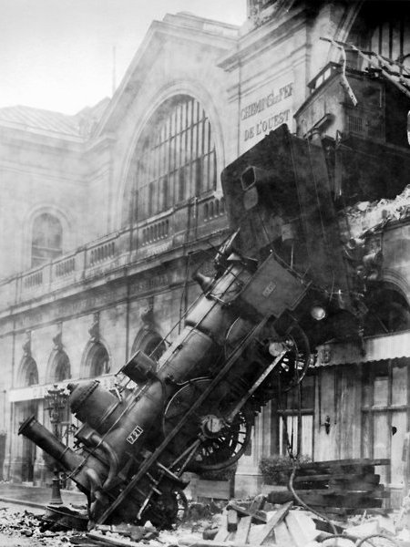 dailycoolmag:  Train Wreck at Montparnasse, 1895.