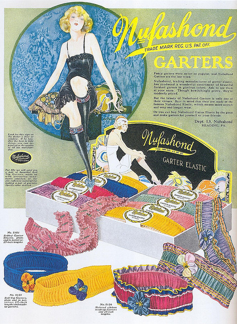 "artdecoblog:  Nufashond Garters ad, 1925 on Flickr. Click image for 1329 x 1811 size. Scanned from Taschen's ""All-American Ads of the 20s""."