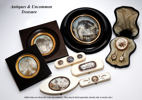 Antique items that mourn those loved and lost. C. 1700s to 1800s, French and English origin.  Antiques & Uncommon Treasure