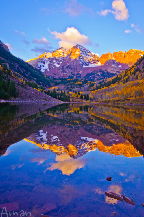 woodendreams:  Maroon Bells, Colorado, USA  (by Aman Nijhawan)