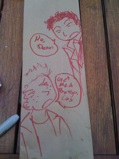 At my local WhichWhich, I drew Destiel on my bag and posted it for everyone to see.   go Destiel.
