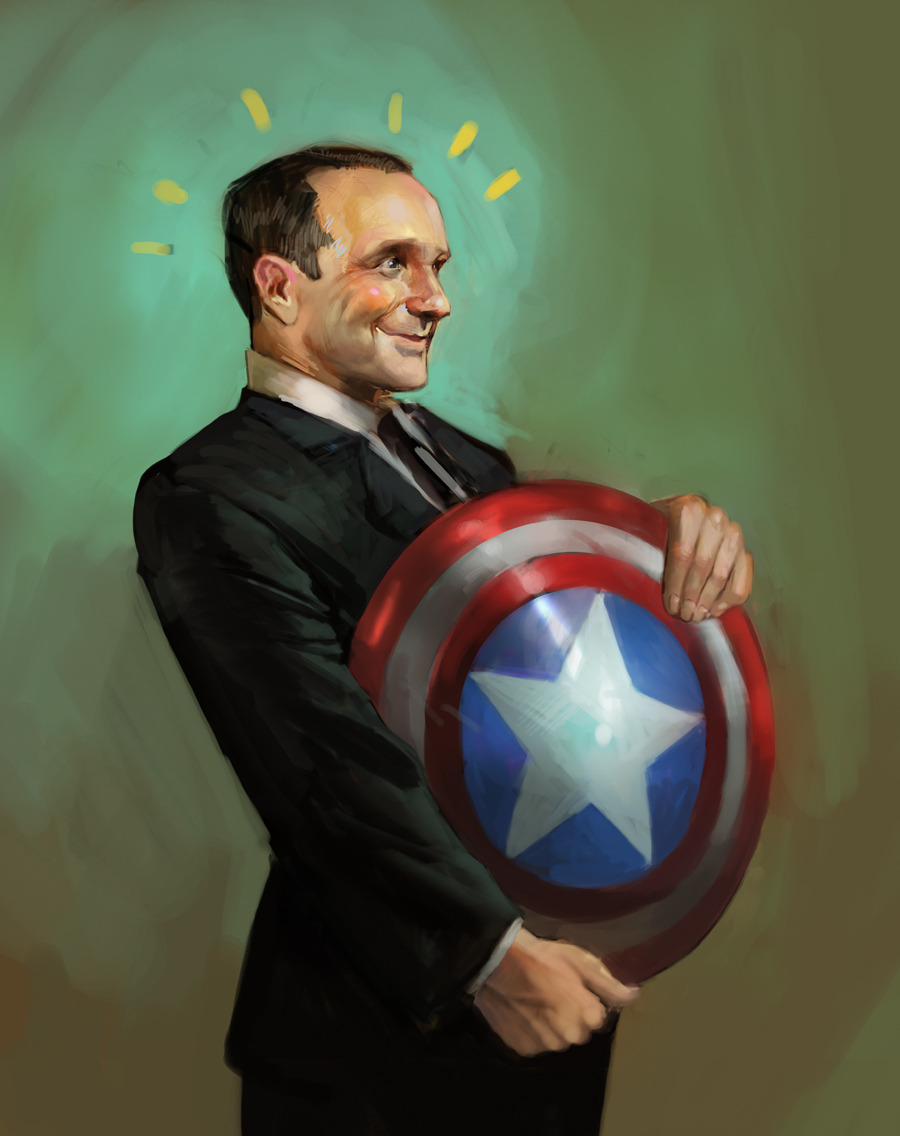 juliedillon:  Fanboy Coulson, gettin' to hold Cap's shield. :D I'm so excited about the new S.H.I.E.L.D. show in the works; really glad we get to see more of Clark Gregg in this role. :)