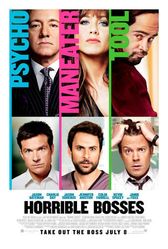 #428/#145 Horrible Bosses Nick (Jason Bateman), Dale (Charlie Day) and Kurt (Jason Sudeikis) hate their bosses. Nick's boss Harkin (Kevin Spacey) is a sadist who uses Nick for his own gains, Dale's boss Julia (Jennifer Aniston) sexual harasses him despite his recent engagement and Kurt's boss Bobby (Colin Farrell) is a coked-out tool bleeding his late father's company dry. When Kurt drunkenly suggests all of their lives would be better if they killed their bosses, things quickly escalate till the trio are actually looking into ways to do it. This is a pretty funny comedy. Usually in this situation there would be one main guy and the other two would be his sidekicks, but in this film all three of the employees get to be the comedic lead. You can't pick between them who gets the better deal as they all share equal levels of screentime and they all get a handful of great lines. From the bosses, things are a little more skewed towards Spacey but each of them get their moments to shine. Spacey is just perfect as the insane prick of a boss. He's a caricature, sure, but you can see elements of reality in his performance. Farrell probably gets the least attention in the film but he plays it really well regardless. Finally Aniston is the best I've seen her in a movie role for a while and is definitely the funniest of the bosses. You get why Day's character has a problem with her but, like his two friends, you don't feel a lot of sympathy for him given just how hot she is in this. It's a bit raunchy and it's a bit silly in places but there was some solid writing and funny jokes. Overall I had a good time with it. 3.5/5