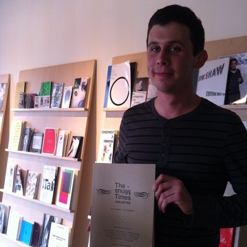 owlcavebooks:  Visitor of the day Michael showed us his copy of The Minus Times that has a piece by Jason Fulford that mentions Kadist. Thanks for stopping by, Michael! #kadist #oogabooga (at Kadist Gallery)