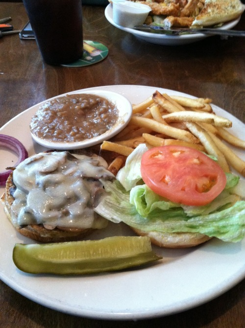 I have posted pics of my fries and gravy from Central City Tavern twice already. And then I learned a special trick, you can order a side of gravy with your fries. But this day I order a mushroom and Swiss veggie burger. Most veggie burgers that I have had in the past have some form of brown rice in them. This burger was made in the restaurant and they take vegetable and puree them together to make an actual VEGGIE patty. It tasted great!! It wasn't dry like other veggie patties that I have tasted. Again my trip to Central City was very satisfying!!