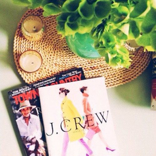 Time for some late afternoon reading. Yay, for a new @jcrew catalog.