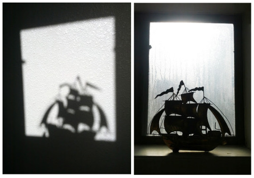 randomly awesome shadow caused by the pirate ship in my bathroom window..