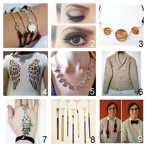Roundup Nine DIY Jewelry, Accessories and Fashion Tutorials PART THREE. Roundup of this past week. October 14th - October 20th, 2012. *For past roundups go here: trebluemeandyou.tumblr.com/tagged/roundup Leather and Bead Bracelet with Hidden Elastic Closure Tutorial from Lebenslustiger here. Double Line Makeup Tutorial from The Beauty Department here. Paper Cabochon and Wire Necklace Tutorial from Crap at Crafts here. Angel Wings Tee Shirt Restyle Tutorial with Template from cut out + keep here. via halloweencrafts Spikes and Rhinestone Necklace Tutorial from Transient Expression here. Miu Miu Crystal Embellished Sweater Tutorial from inspiration & realisation here. Alyssa Norton Knockoff Handpiece or Panja Tutorial from Chic Steals here. Eye Makeup Brushes Tutorial from The Beauty Department here. Crochet Bow Tie with Free Pattern from Louie's Loops here.