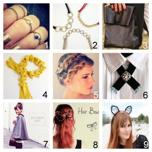 Roundup Nine DIY Jewelry, Beauty, Accessories and Fashion Tutorials PART FOUR. Roundup of this past week. October 14th - October 20th, 2012. *For past roundups go here: trebluemeandyou.tumblr.com/tagged/roundup Chain Rings Tutorial from V Juliet here. Easy Leather and Metal Geometric Necklace Tutorial by fabric paper glue here. via diychristmascrafts Jil Sander Leather Lunch Bag from Syl and Sam for Chictopia here. DIY Easy Lots of Bows Scarf Tutorial from Ruffles & Stuff here. via rainbowsandunicornscrafts Braiding Short Hair Tutorial from The Beauty Department here. Western Velvet Jewel Collar Necklace Knockoff Tutorial from Small Good Things here. Audrey Hepburn Inspired Wrap Cape Tutorial from In Honor of Design here. DIY Hair Bow for Fine Hair Tutorial from Lana Red here. Lace Cat Ears from Rock Mosaic here. via halloweencrafts