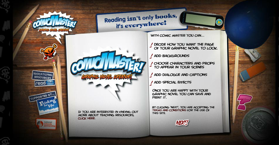 Comic Master…Boys will love this graphic novel creator! #edtech #literacy Includes awesome graphics (characters, backgrounds, and props) Students can also add text for speech bubbles and captions. Customize your novel's layout by mixing and matching different frames options provided.   Final results are easily printed.  No account is necessary to create a 1 page story. Add more pages to your novel if desired. Just print each page as you go along if you don't have a registered account.  You can only save work if you create a free account. An email is necessary to create an account. Looking for more sites like Comic Master ? Then check out  Cool Comic Creators! You may also like… Myths and Legends Spectacular! 65 Read-Aloud Books for Boys Shoo Rayner's Online Library: Dark Claw Sports for Kids Super Bowl Party Planner for Kids