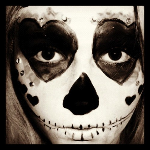 Black and white version :) filmed this today! - sugar skull #makeup #creative #hearts #blackandwhite #grayscale #sugarskull #halloween