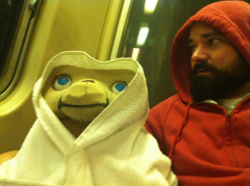 "On the DC Metro heading out to a Halloween party.  (Check out my ""how-to"" photoset here to see how I made my costume.)"