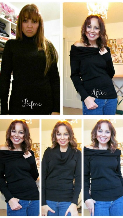 DIY Two Turtlenecks to Cowl Sweater Tutorial from Etcetorize here. This is a much easier DIY than it looks. *First seen on inspiration & realisation's Facebook Page here.