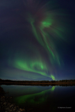 Wow. The aurora photographed by Stéphane Guisard. Via the Bad Astronomy blog at Discover. One day I want to go and see this for myself. I have a feeling the picture doesn't do it justice. Knowing what causes it just makes it even more amazing. Imagine all those charged particles from the solar wind colliding with the earth's magnetic field. Collision. Light. Magic.