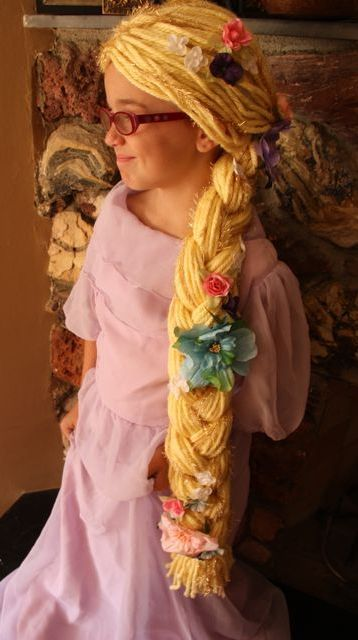 DIY Tights and Yarn to Rapunzel Wig Tutorial from This Mama Makes Stuff here. *For another yarn wig using a cap go here.
