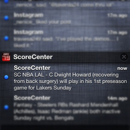 Hell yeah!!! Dwight plays tonight!!!! #lakers
