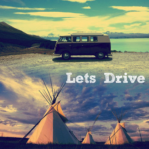Let's Drive | A mixtape for exploring and adventures Recently I have been entertaining daydreams of driving off into the unknown, exploring the world, having adventures, and living in a tipi in the wilderness. Clearly, this is not a practical dream, so rather than gathering together my worldly possessions and disappearing into the wilds, I made a mixtape about it instead. Drive On // Avalanche CityIn the car on the way to the city | In the morning it was foggy on the windscreen | We talked about the day ahead | And shouldn't we just run away instead.  I and Love and You // The Avett BrothersLoad the car and write the note. | Grab your bag and grab your coat. | Tell the ones who need to know. | We are headed north.  Blue Ridge Mountains // Fleet FoxesLet's drive to the country side, | Leave behind some green-eyed look-a-likes.  Travel Light // Laura Marling & Johnny FlynnI travel light and that's the life for me.  Badman//Newton FaulknerPlease just run away with me | Oh please just give me fields and trees | Oh please we can find all we need.  Run // Vampire WeekendIt struck me that the two of us could run, | Worlds away from cars | And all the stars in bars  (Let's Go) Get Lost // Patrick WolfCome on and run | Come get lost with me | Slip away discreetly | You're my love | Come away with me | Till we run on empty  Old Pine // Ben HowardHot sand on toes, cold sand in sleeping bags, | I've come to know that memories | Were the best things you ever had | The summer shone beat down on bony backs | So far from home where the ocean stood | Down dust and pine cone tracks. {Listen} {Notes: VW van picture by Sarah Rhoads, Tipi photo found on weheartit}
